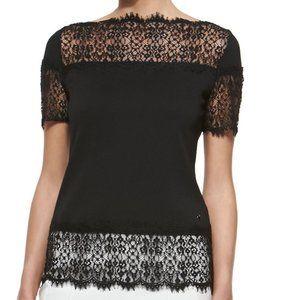 Escada Lace Black Short Sleeve Top